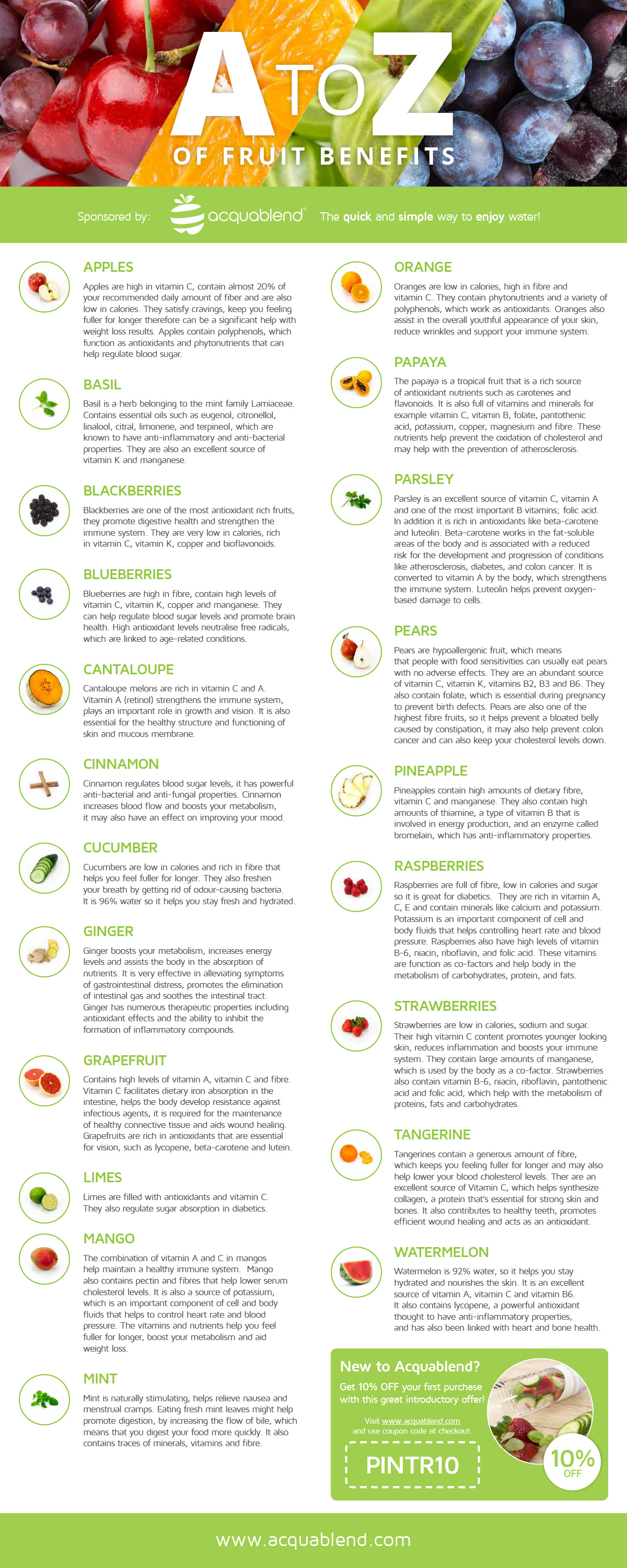 A to Z list of fruit benefits.