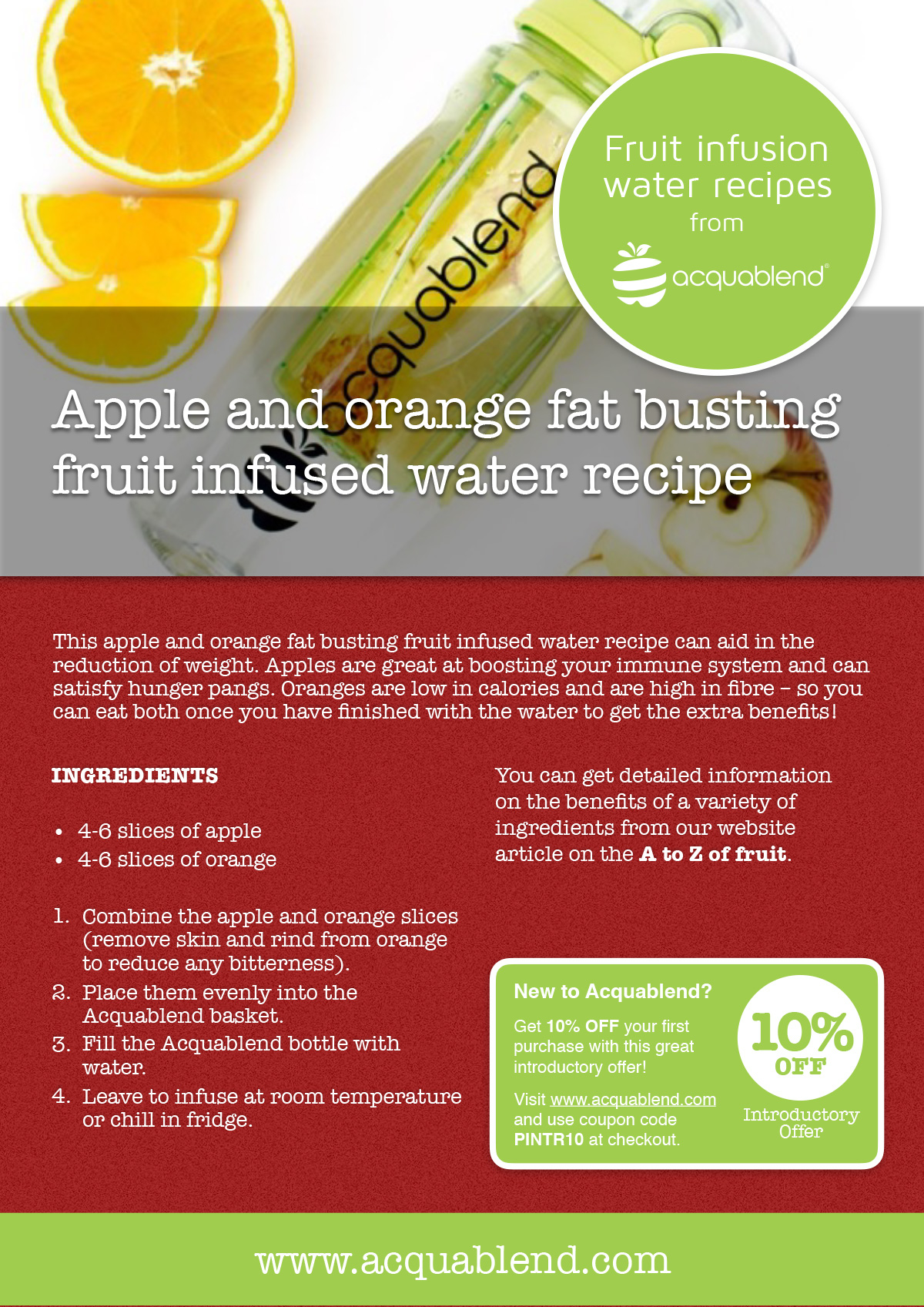 Apple and orange fat busting fruit infused water recipe.
