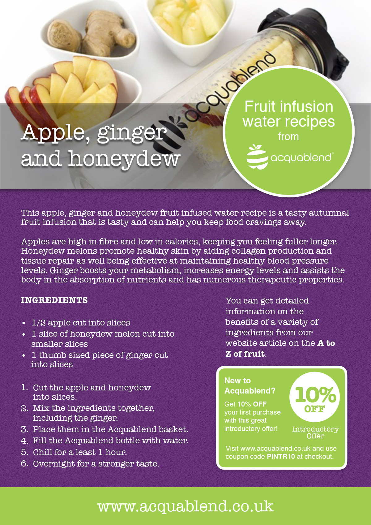 Apple, ginger and honeydew fruit infused water recipe.