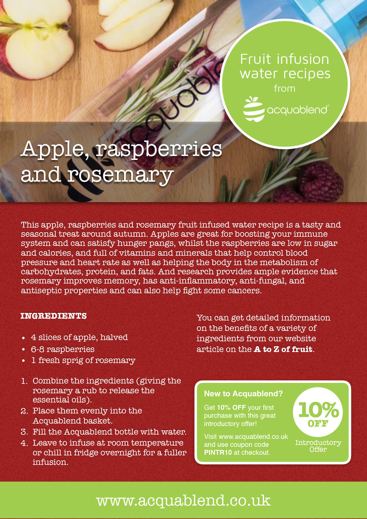 Apple, raspberries and rosemary fruit infused water recipe.
