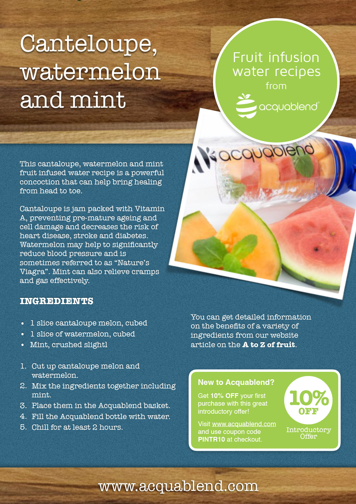 Cantaloupe, watermelon and mint fruit infused water recipe.