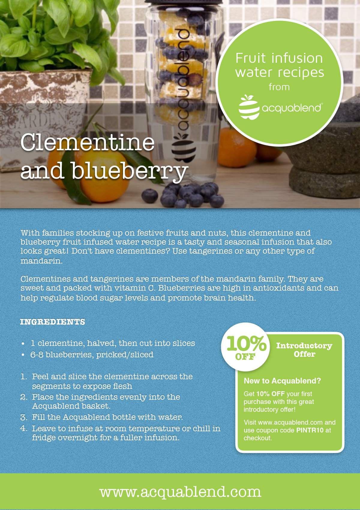 Clementine and blueberry fruit infused water recipe.