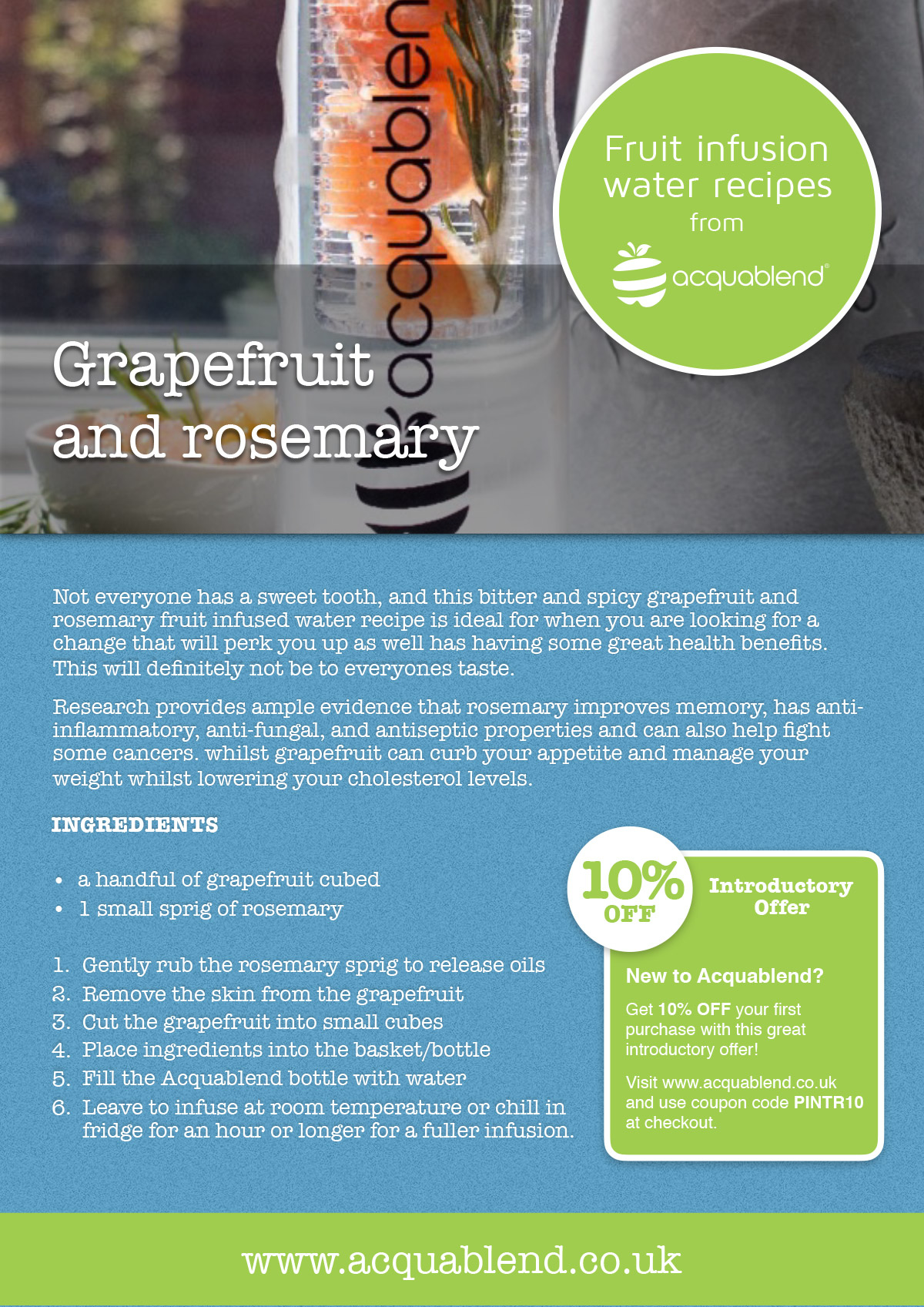 Grapefruit and rosemary fruit infused water recipe.
