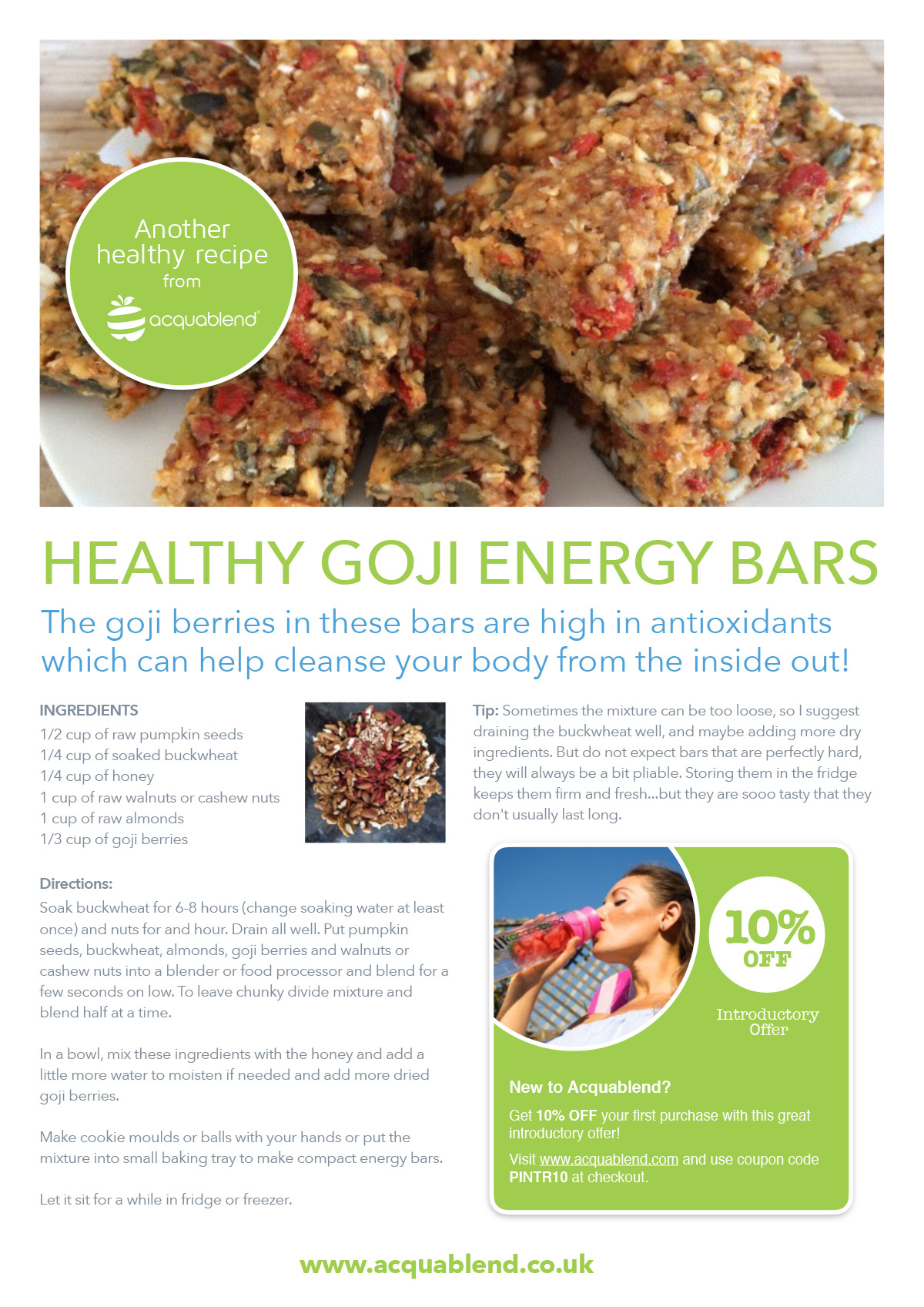 Healthy goji energy bar recipe.