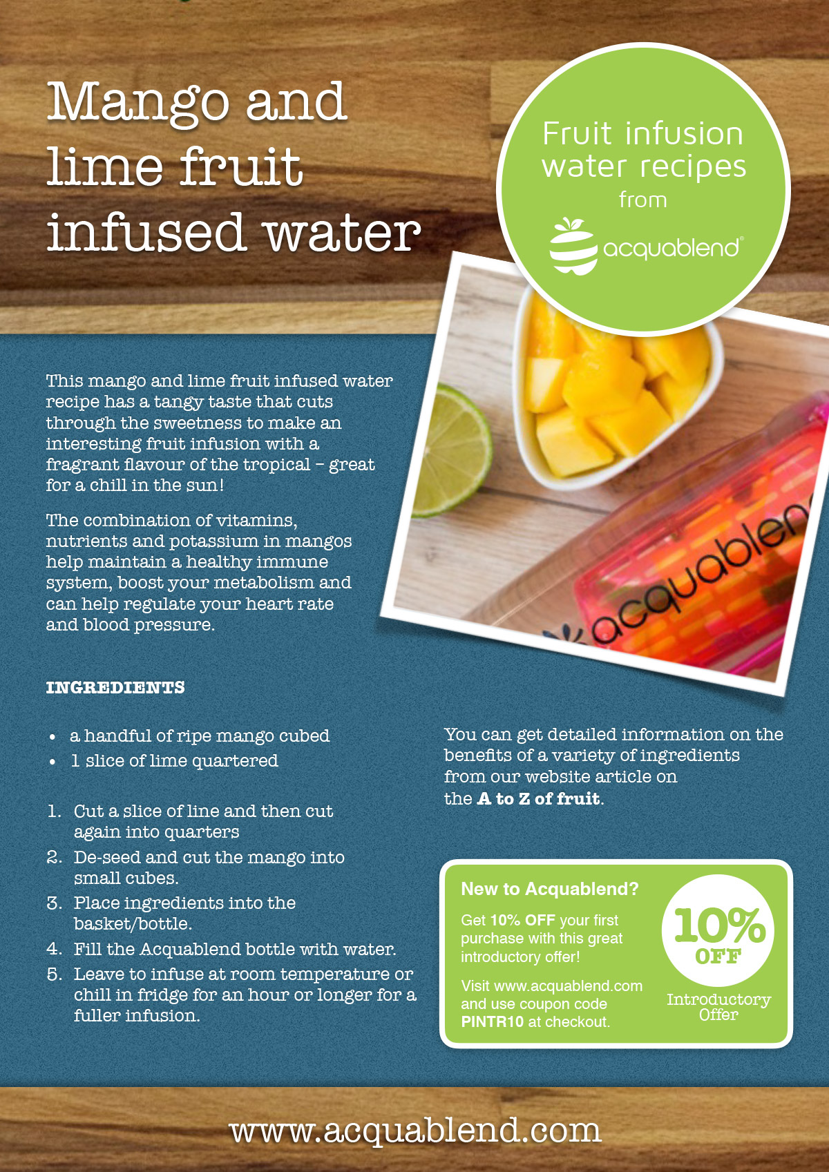 Mango and lime fruit infused water recipe.