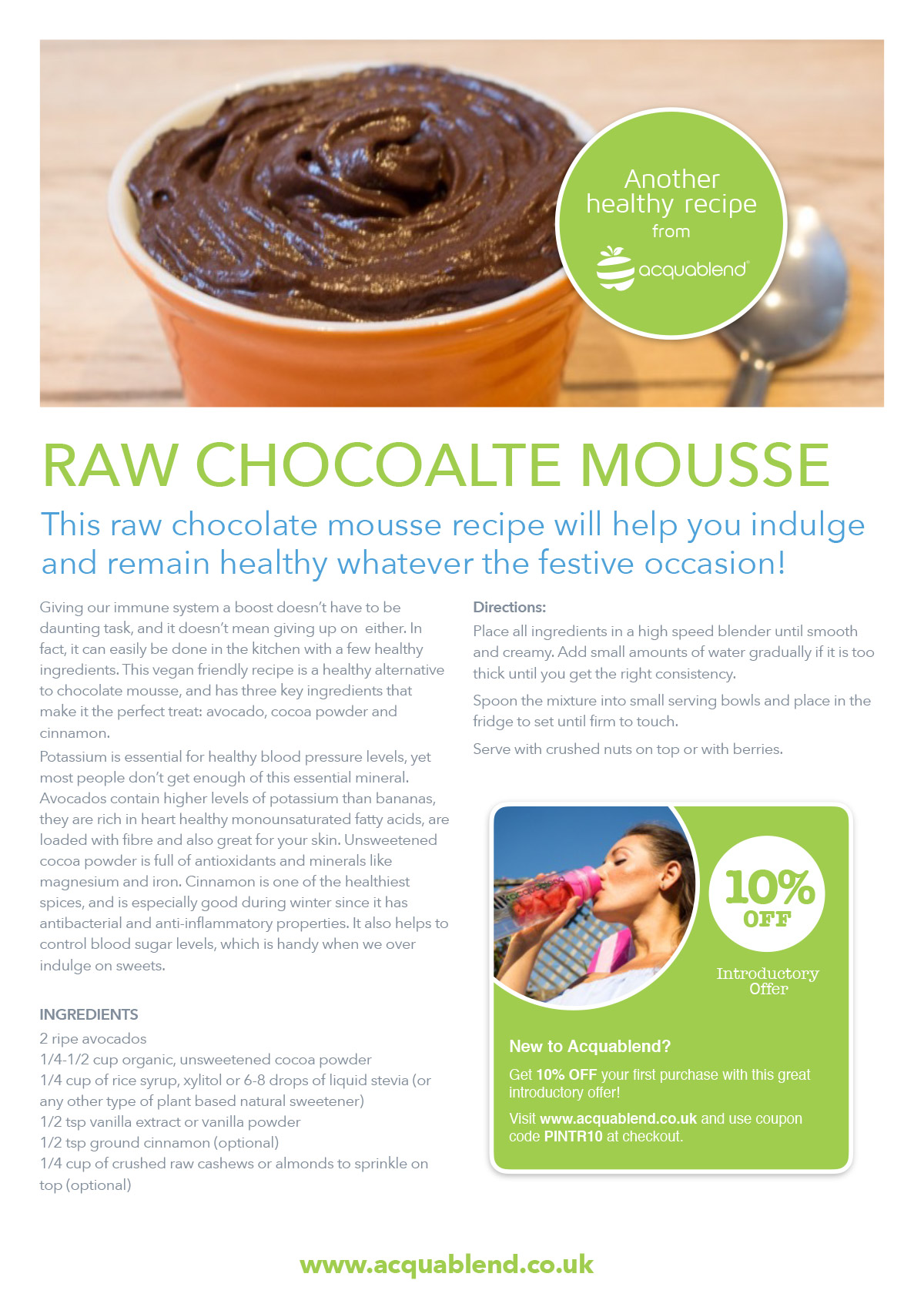 Raw chocolate mousse from Acquablend.