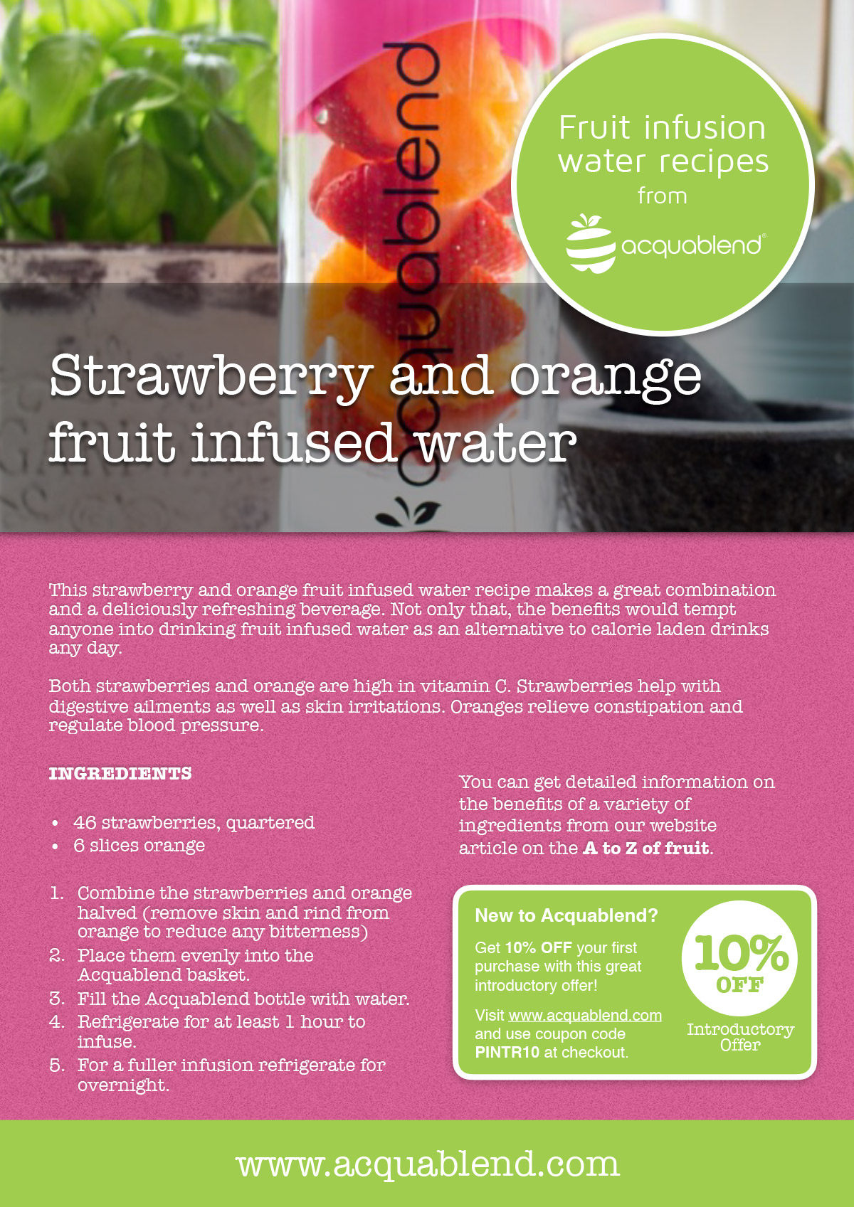 Strawberry and orange fruit infused water recipe.
